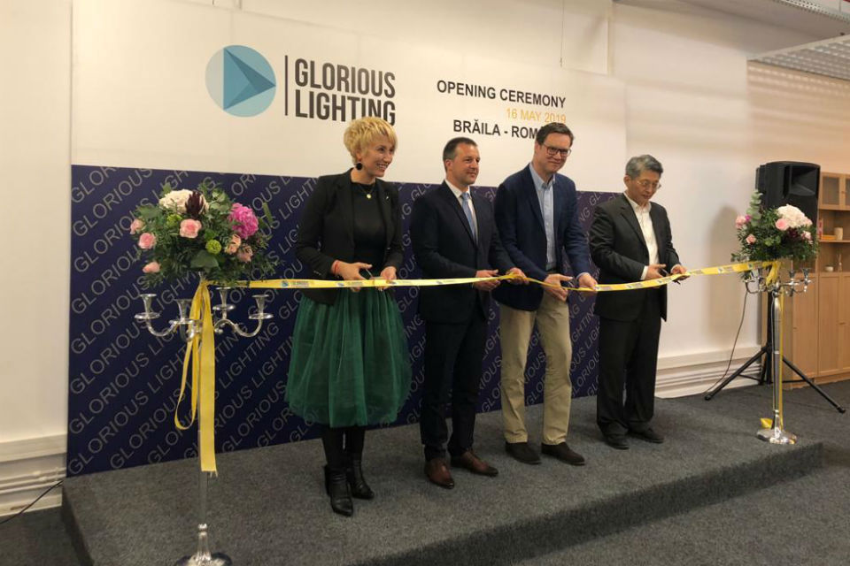 Chinese Glorious Lighting inaugurates 17 million euro factory in Romania