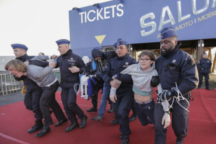 Police detain 185 climate protesters at Brussels auto show