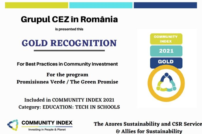 CEZ in the top of Community Index, the only competition in Romania dedicated to projects that contribute to the development of local communities
